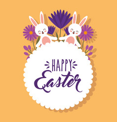 cute white rabbits holding hand flowers happy vector image