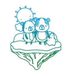 degraded line couple bear animal in the float vector image