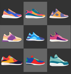 Different types of modern sneakers for everyday vector