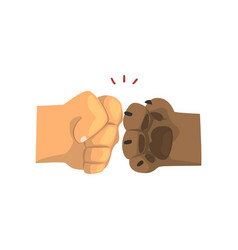 Dog paw and human hand bumping together vector