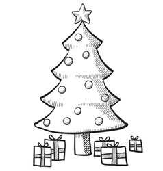 doodle christmas tree presents vector image