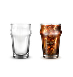 empty and full glass with cola or ice coffee vector image