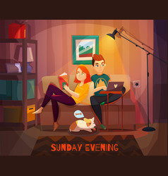 Evening rest couple vector