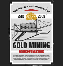 extraction gold mining ore miner building vector image