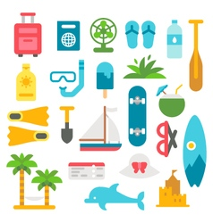 Flat design beach items set vector