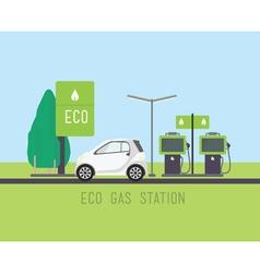 Flat eco design rural landscape with gas station vector image