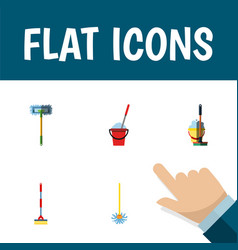 Flat icon cleaner set of bucket mop broomstick vector