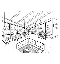 Freehand drawing of open space or coworking with vector