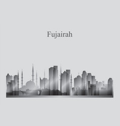 fujairah city skyline silhouette in grayscale vector image