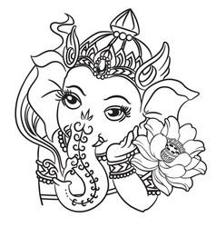 Ganesha drawing om symbol tattoo icon on black ba vector