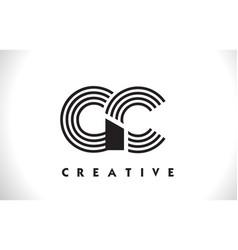 gc logo letter with black lines design line letter vector image