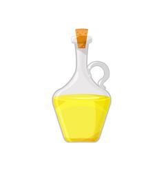 Glass bottle of golden vegetable oil organic vector