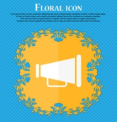 Gramophone web icon Floral flat design on a blue vector image