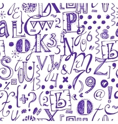 Hand Drawn Font Seamless Pattern vector image