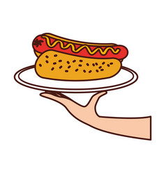 hand holding hot dog sausage in plate and mustard vector image