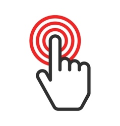 Hand push button vector image