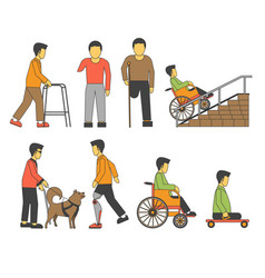 Handicapped person injured wheelchair or vector