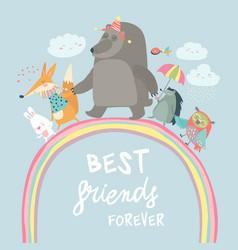 happy animals walking on rainbow vector image