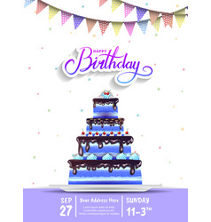 Happy birthday design with big birthday cake blue vector