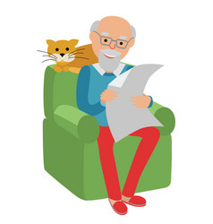 Happy senior man sitting on the sofa read vector