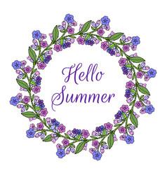 hello summer wreath lungwort medicinal plant vector image