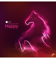 Horse glowing dark background vector image