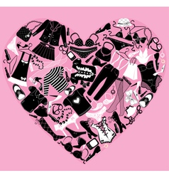 I Love Shopping image the heart is made of differe vector image