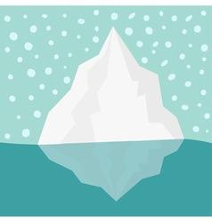 Iceberg blue water snow flake in sky flat vector