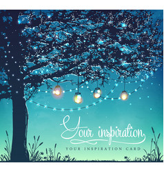 Inspiration card tree decorative holiday lights vector