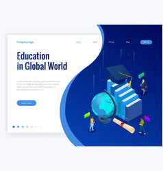 isometric education in global world books step vector image