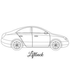 liftback car body type outline vector image