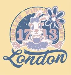London roller rider rabbit print for kids vector