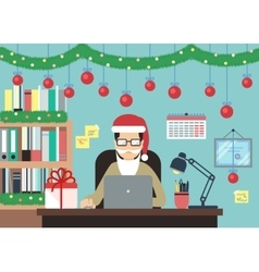 Man With Laptop In Christmas Decorations vector