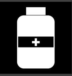 Medicine bottle the white color icon vector