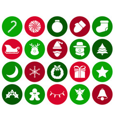merry christmas - white icons vector image
