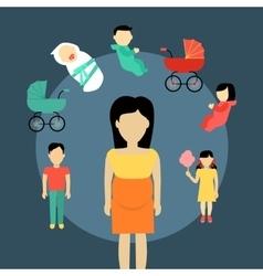 Motherhood Concept In Flat Design vector