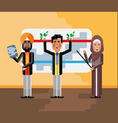 Multiethnic business team doing presentation vector