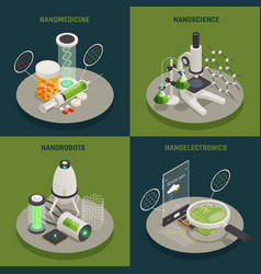 Nanotechnology 4 isometric icons concept vector