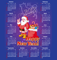new year festive calendar for 2018 vector image