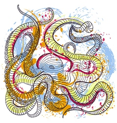 Octopus in watercolor style vector