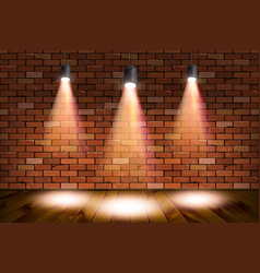 Old retro three lamp on grunge brick wall vector