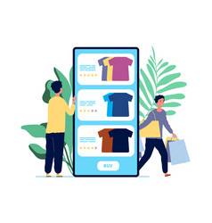 Online shopping guy chooses clothes product vector