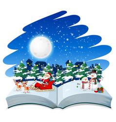 open book christmas theme vector image