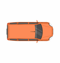 Orange minivan top view delivery truck vector