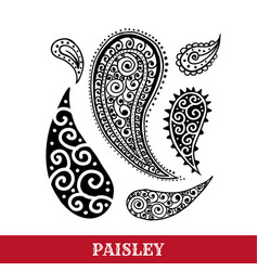 Paisley motifs ink pen isolated vector