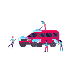 People cartoon characters cleaning vehicle with vector