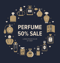 Perfume bottles frame poster with silhouette icons vector