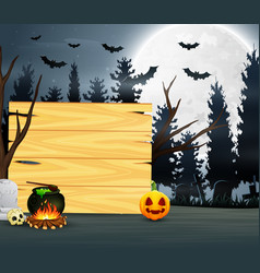 potion in front of wooden board with full moon bac vector image
