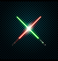 Realistic light swords crossed lightsabers flash vector