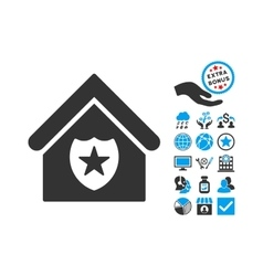 Realty Protection Flat Icon With Bonus vector image vector image